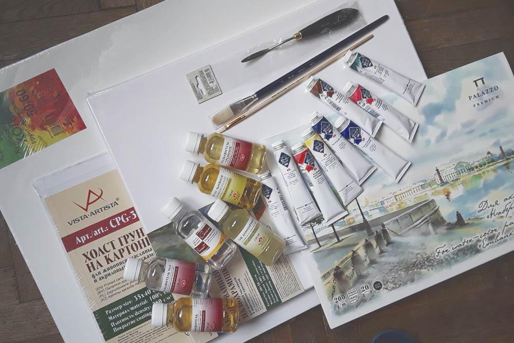 Набор длямасляной живописи. Мастихин — это инструмент сверху