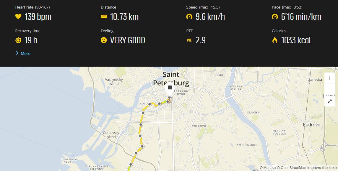 Недавняя пробежка из дома в сторону работы. Пробежал почти 11 км, но до конца не добежал, сел в автобус