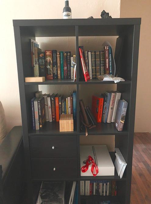 Это моя домашняя библиотека — в основном я читаю профессиональную литературу, фэнтези и научно-популярные книги