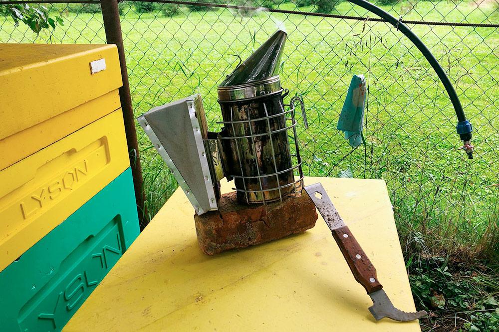Стандартные инструменты пчеловода: дымарь и стамеска