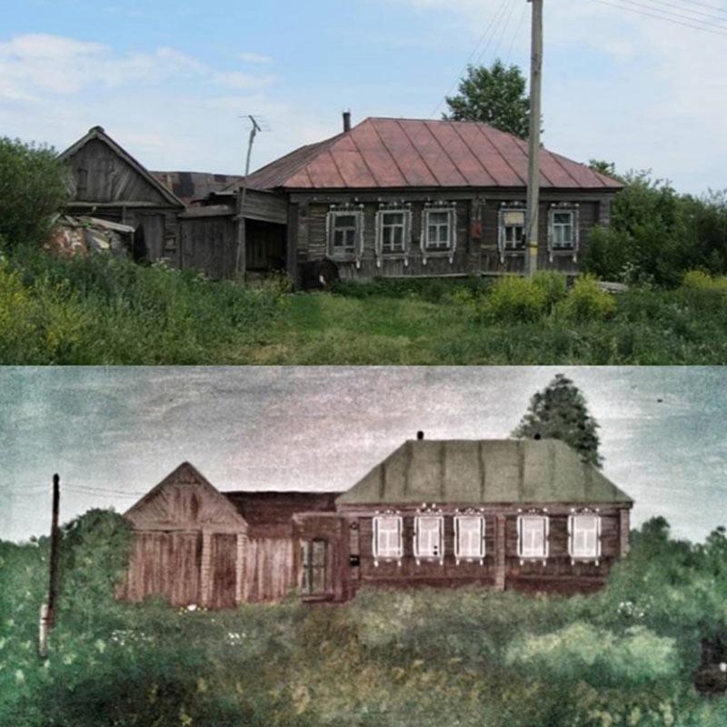 Это дом, где родились папа и дед. Картину я подарила деду
