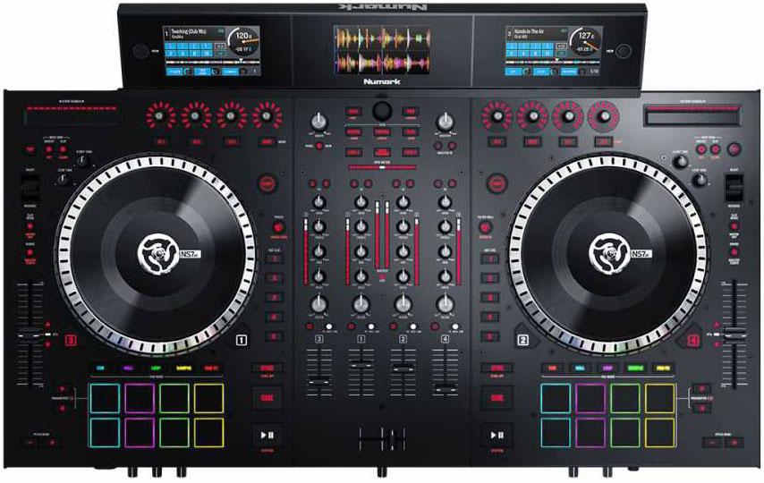 Адский комбайн Numark NS7 III: тут сводят до четырех треков, скретчат, барабанят ритм, накладывают эффекты. Вес — 14 кг, стоимость — 115 тысяч рублей. Размеры примерно в масштабе