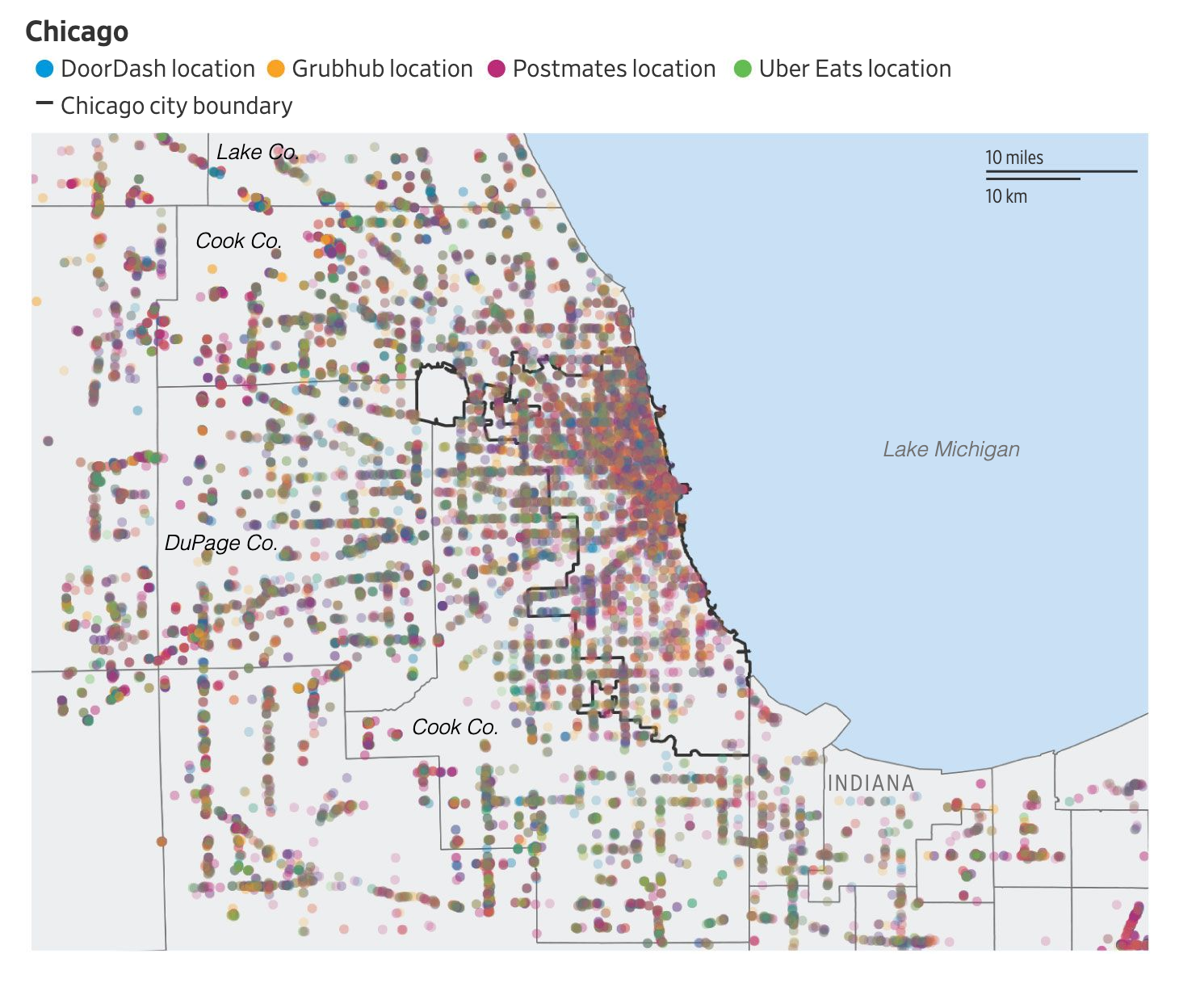 Точки разных сервисов доставки в крупных городах США. Источник: Wall Street Journal