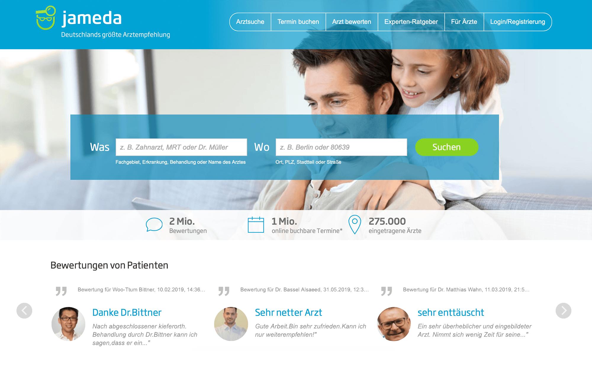 Jameda — самый популярный в Германии сайт по поиску врачей. Там можно посмотреть как данные врача, так и его рейтинг, а также комментарии от пациентов. С онлайн-записью работают единицы клиник — в 99% случаев надо звонить