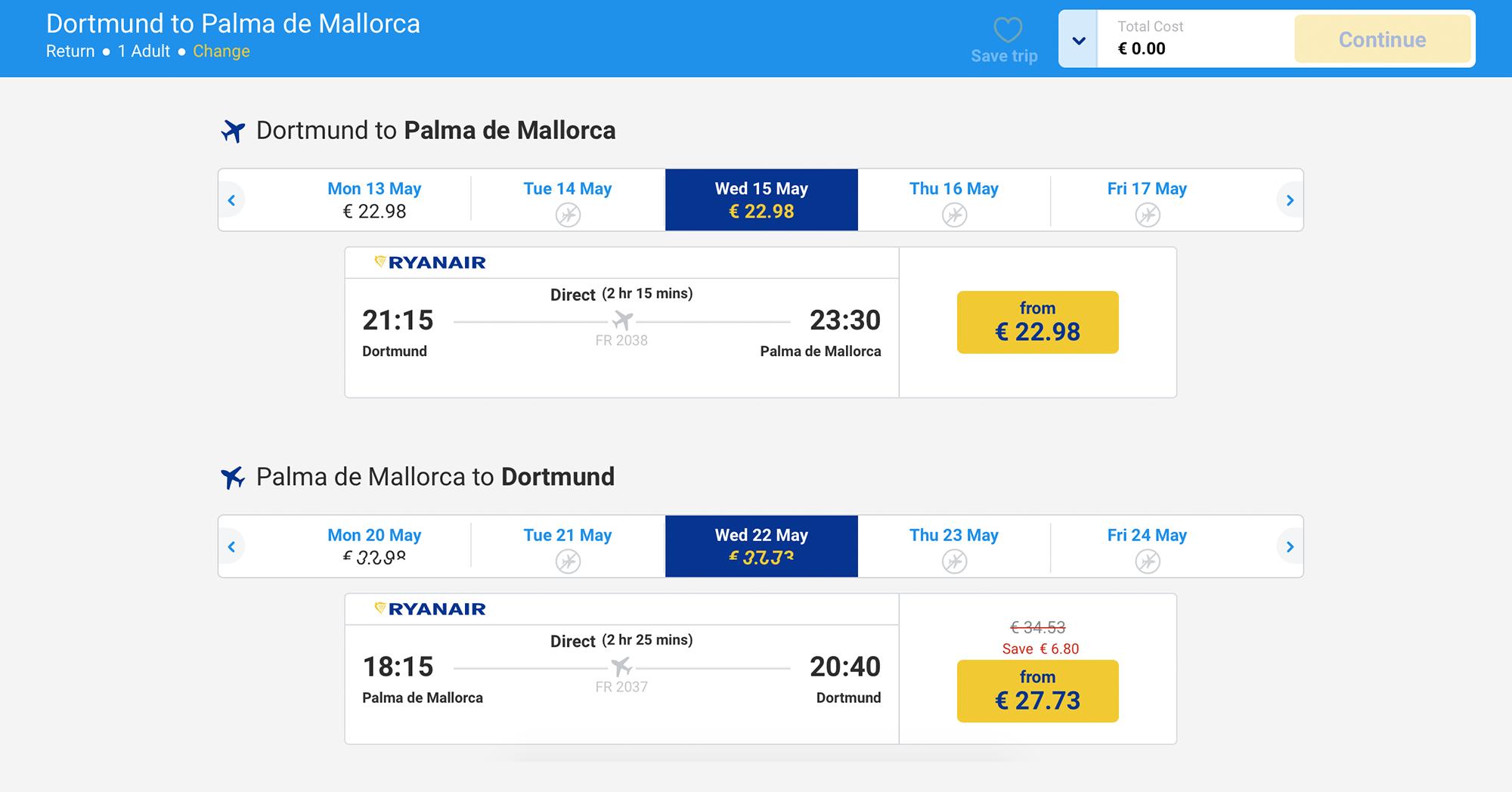 Типичные цены на лоукостер «Райнэйр» — 50€ из Дортмунда в Испанию и обратно