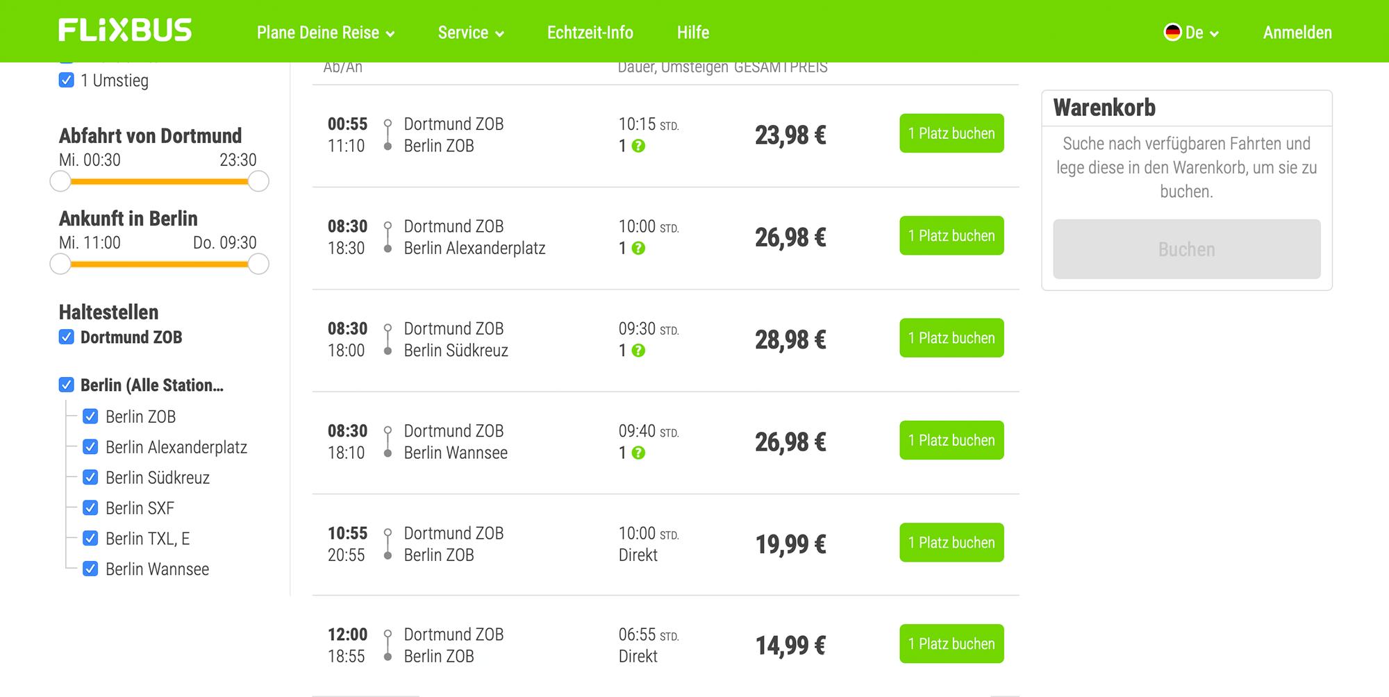 Из Дортмунда в Берлин можно уехать за 15€ на автобусе и провести в пути 7 часов безпересадок