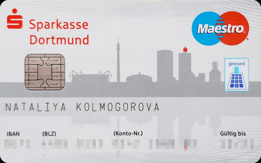 Моя «Жирокард», такая же есть у всех немцев. У карты нет стандартного номера из 16 цифр, из-за этого ей сложно платить в интернете. Это получается делать только на тех сайтах и в магазинах, которые имеют возможность прямого списания денег с банковского счета