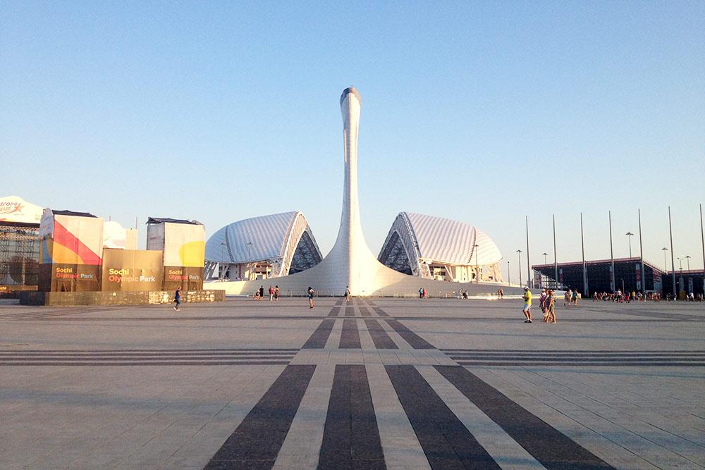 Говорят, с этого ракурса олимпийский факел и стадион «Фишт» за ним напоминают лебедя