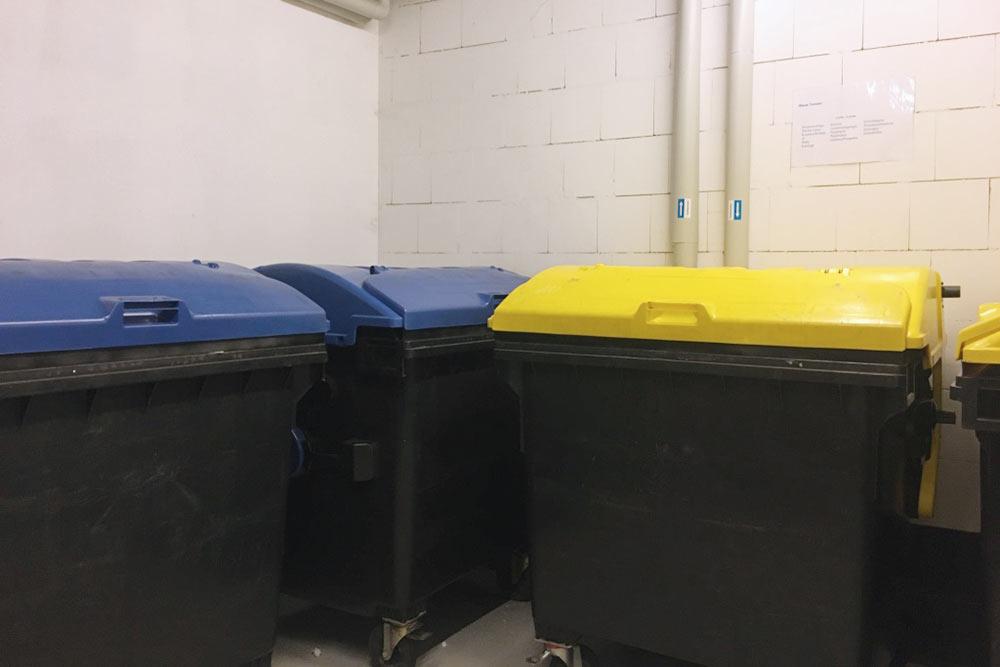 В подвале есть комната 5 × 4 м дляхранения вещей, комната длявелосипедов и комната дляраздельного выброса мусора.