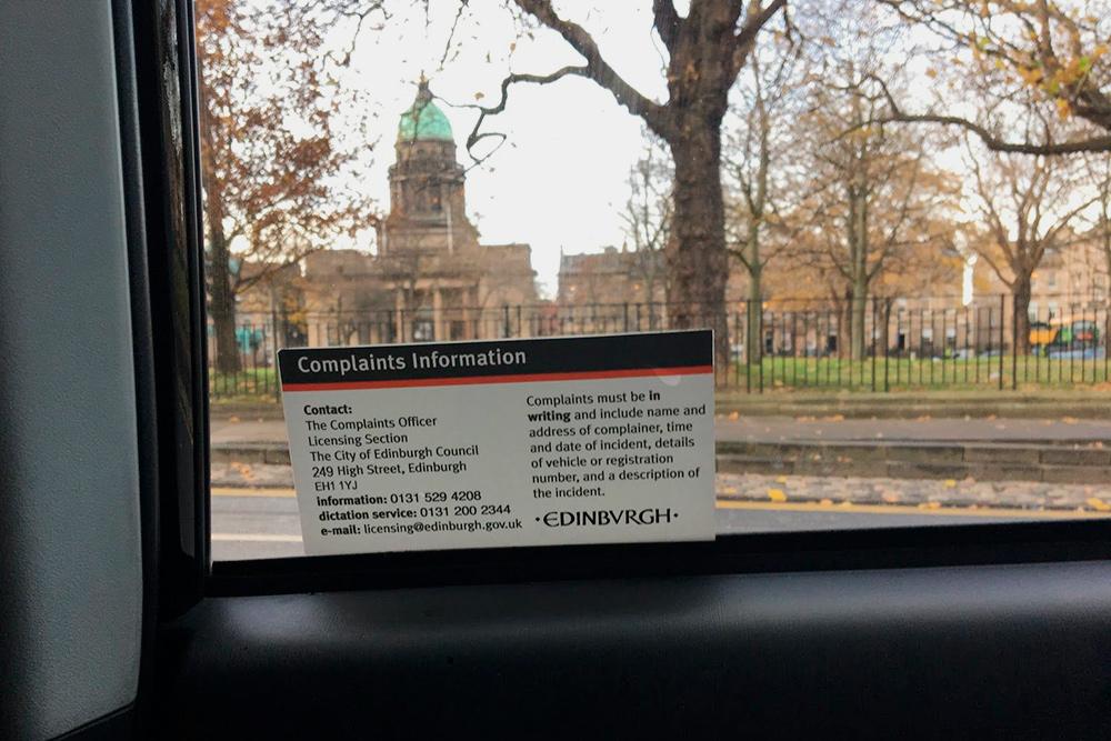 Наклейка внутри любого зарегистрированного такси