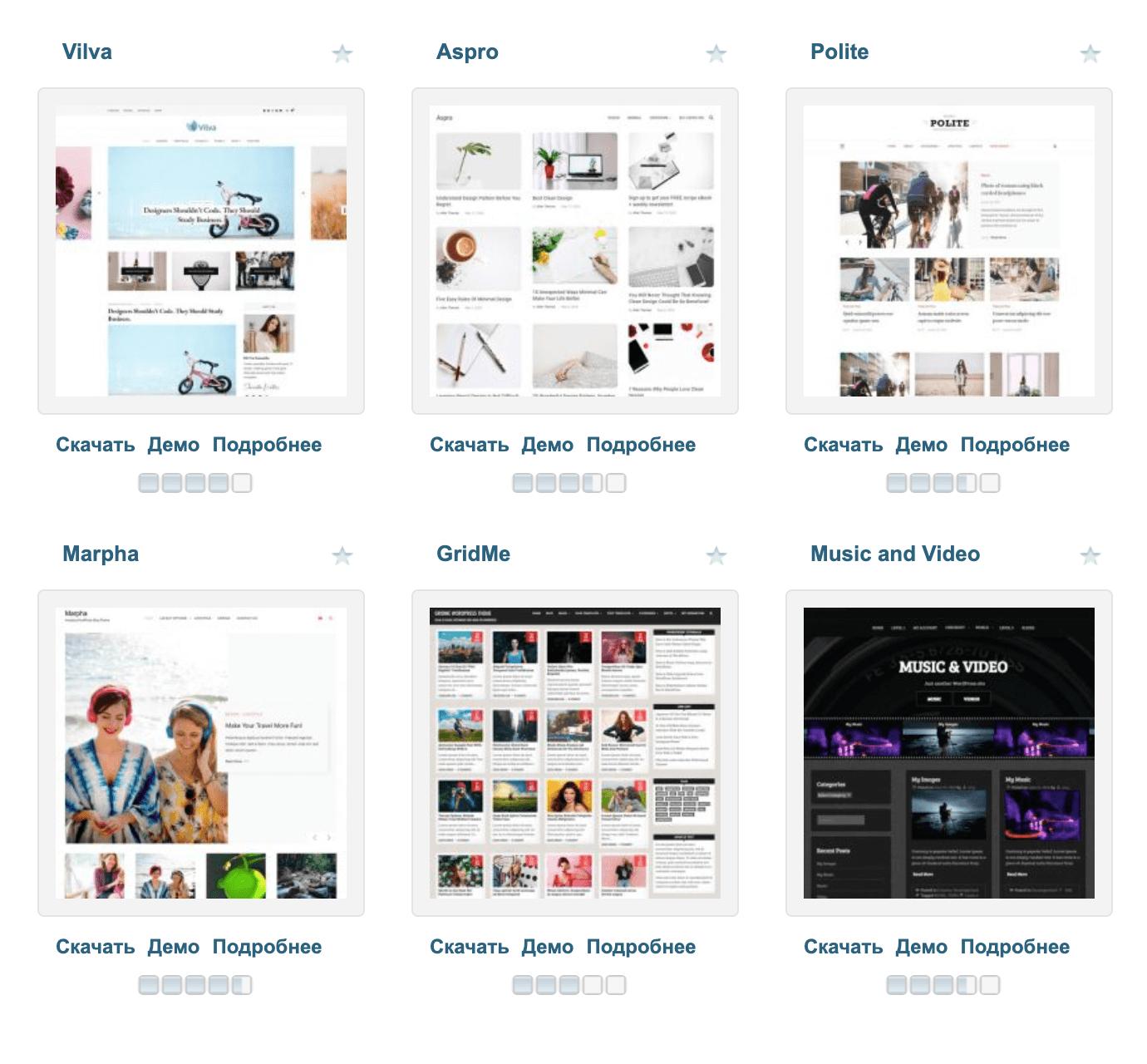 Один из самых популярных сайтов с бесплатными темами для«Вордпресса» — wp-templates.ru