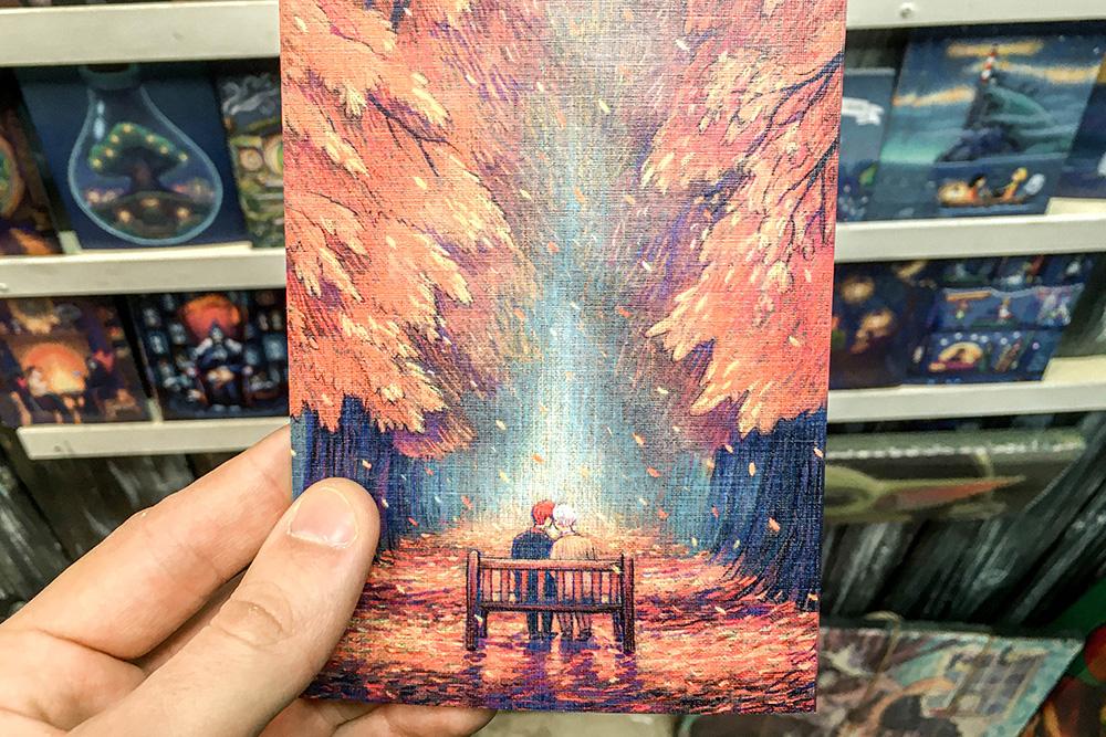 В продаже есть открытки с авторскими работами. Такая стоит 70<span class=ruble>Р</span>