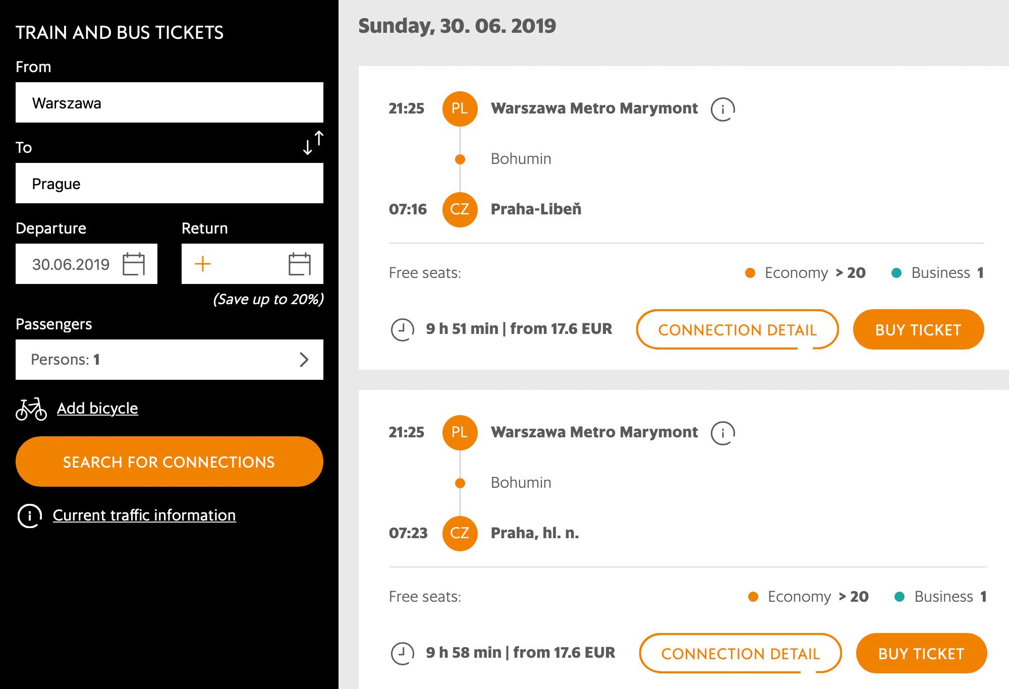 На официальном сайте перевозчика тотже билет можно купить за 17,6€