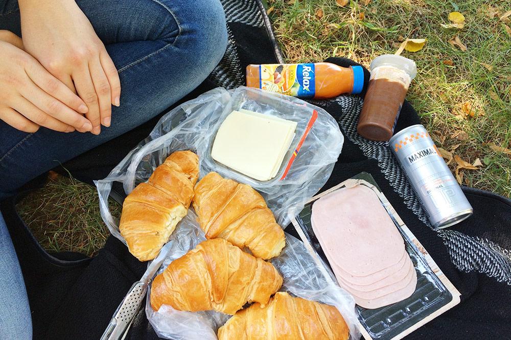 ВПраге мыкаждое утро завтракали впарке. Такой набор продуктов стоил около 100Kč