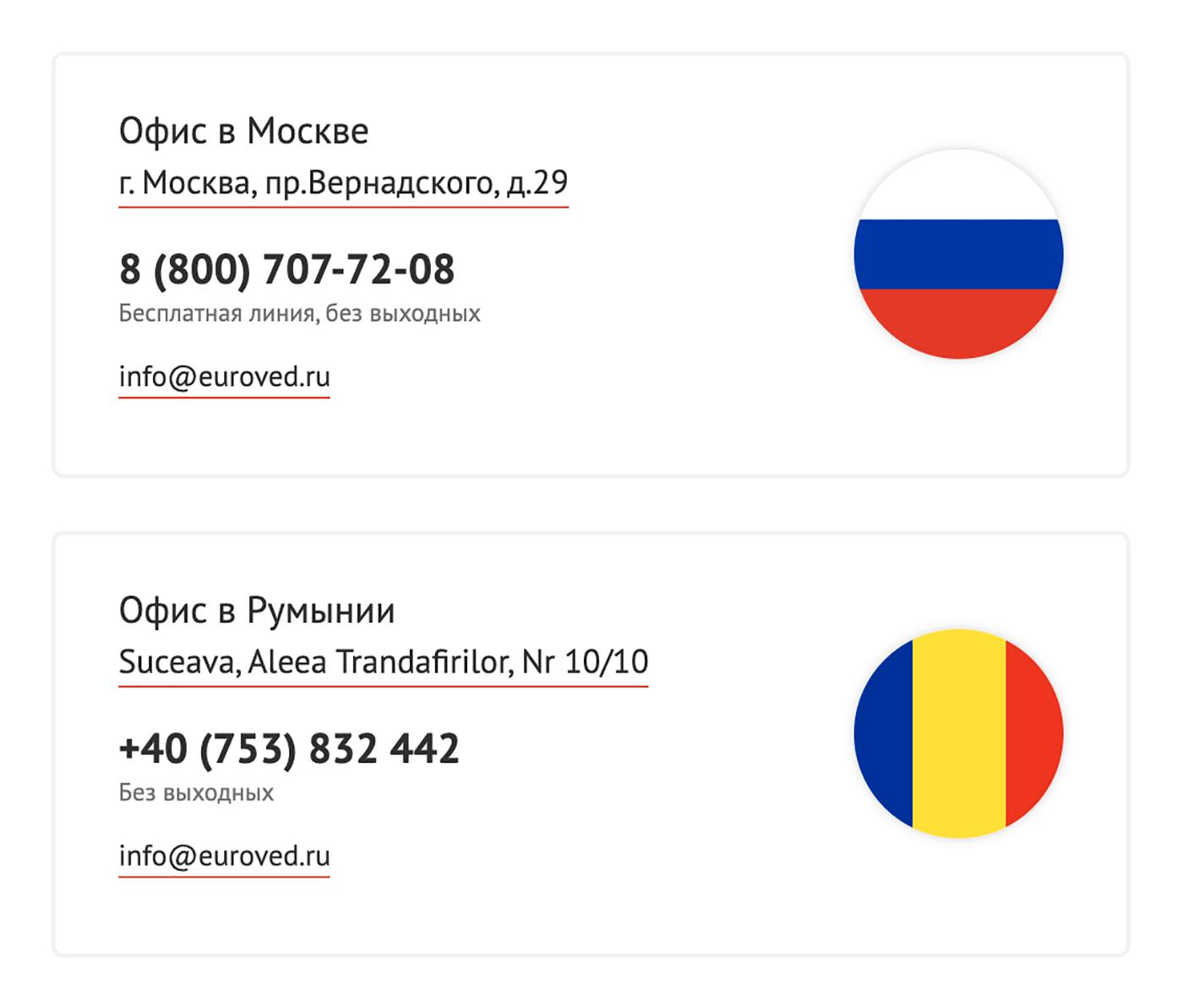 Адреса офисов на сайте «Евроведа». По московскому адресу находится торговый центр. Возможно, наши герои действительно снимают там офис, но «Яндекс-карты» об этом не знают