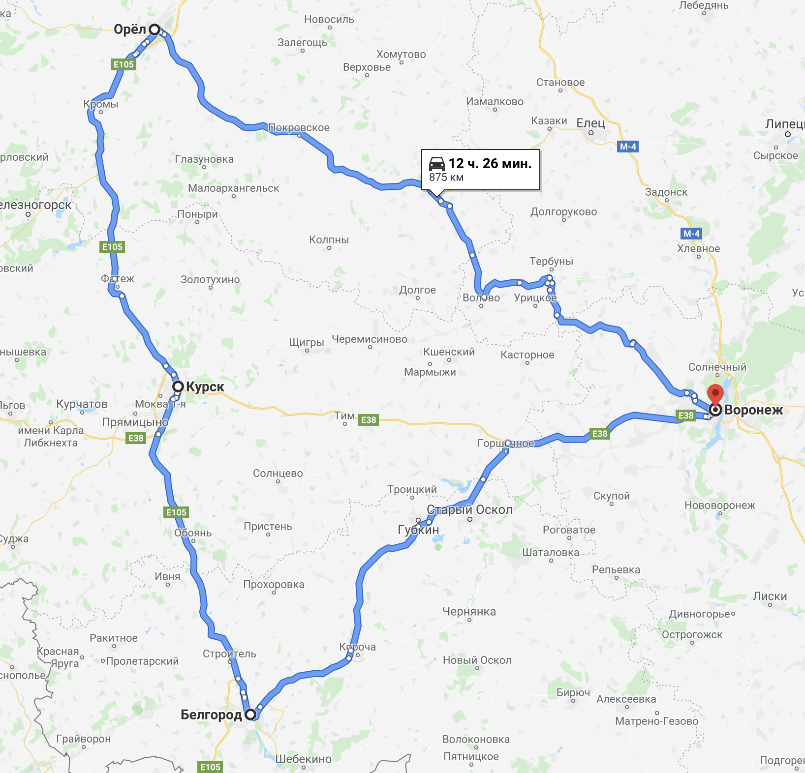 Круговой маршрут: из Воронежа выехали, сделали круг по трем городам и вернулись. Пробег всего 875км