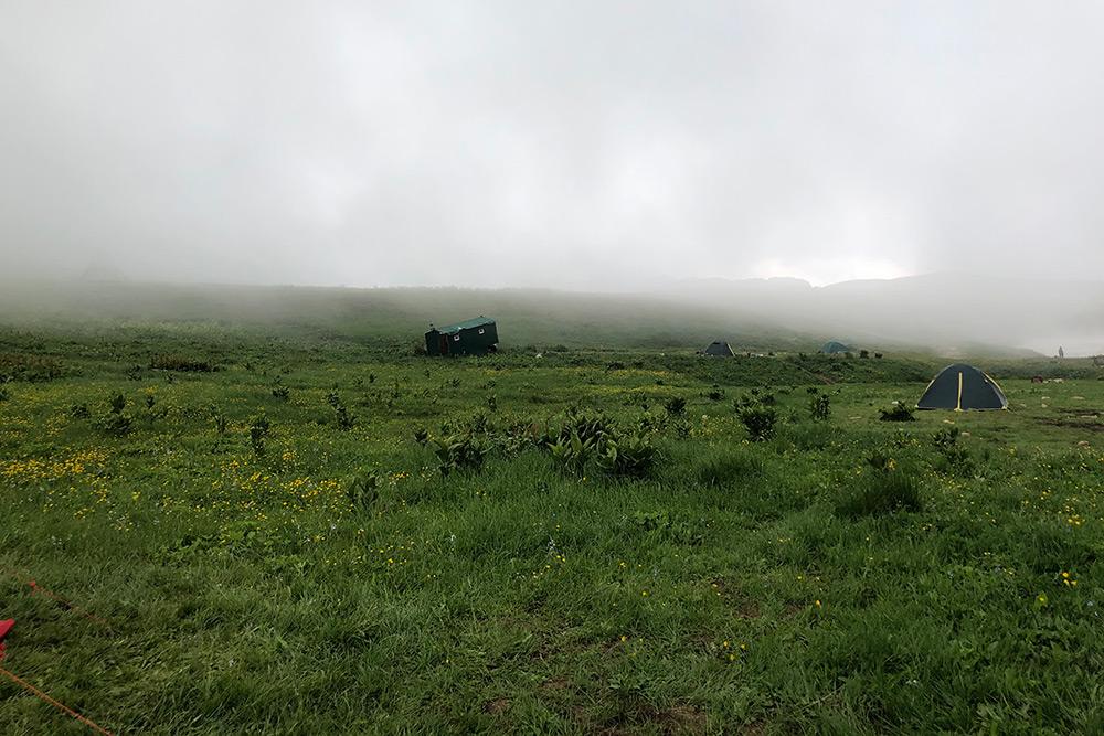 Стоянка «Инструкторская щель». Покосившееся строение вдалеке мы называли домиком одинокого охотника. На самом деле это туалет. Такие были только на стоянках — на маршруте уединяются в лопухах