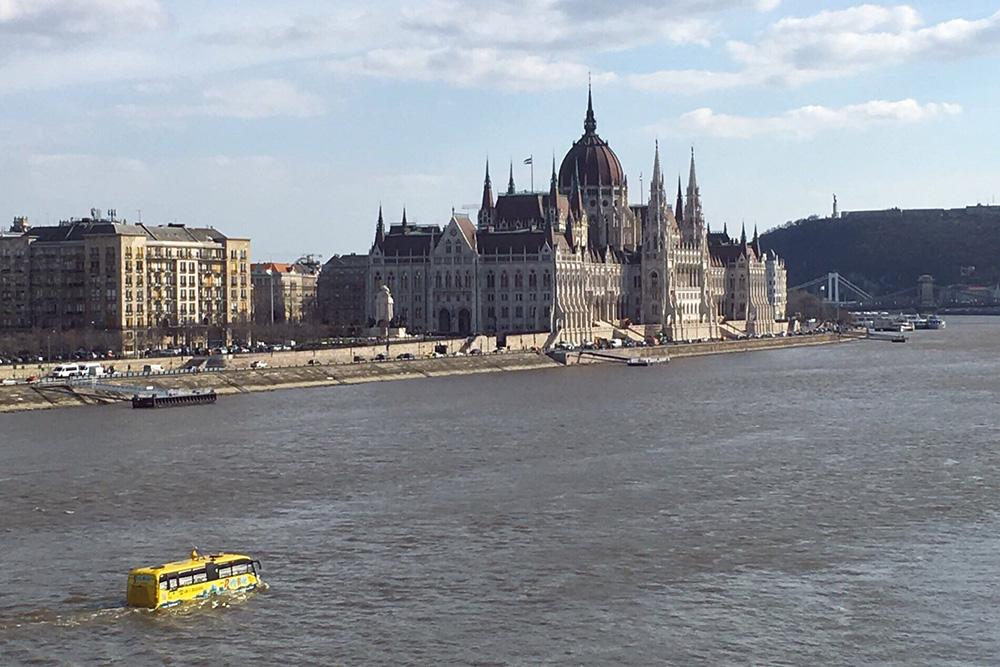 Ничего необычного, просто автобус-амфибия плывет по Дунаю