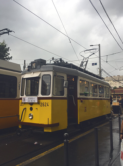 Трамваи в Будапеште желтого цвета
