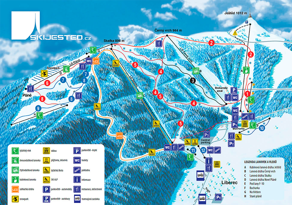 Карта лыжных трасс в Либереце © www.skijested.cz