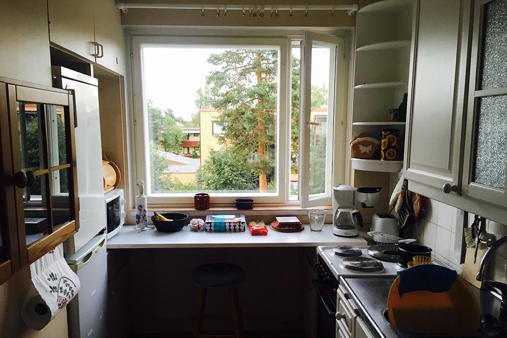 Маленькая кухня с видом на сосны. Когда финны строят дома, они всегда оставляют рядом много деревьев