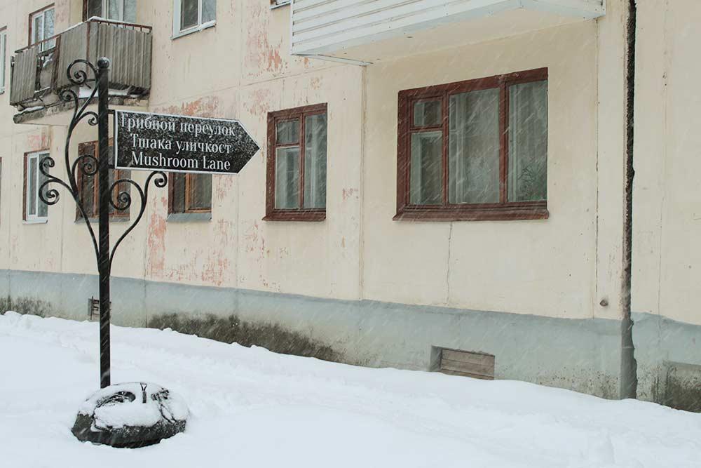 У переулка есть указатель сразу на трех языках: русском, коми и английском
