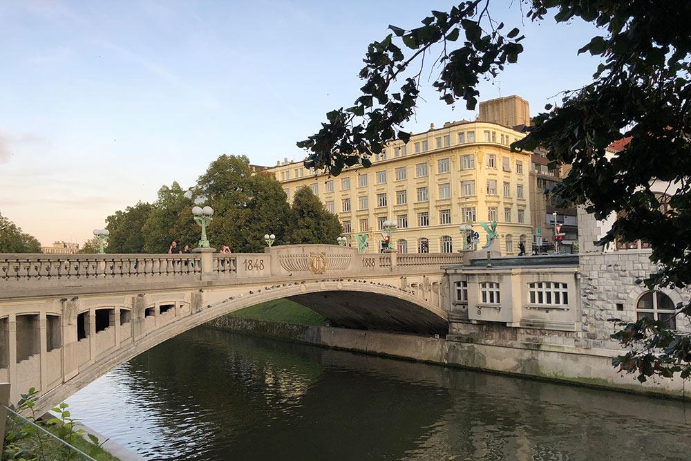 Река Любляница делит город на старую и новую части