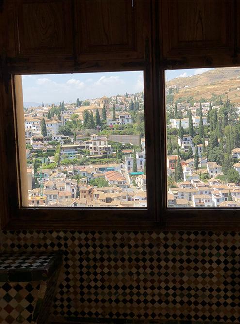 Вид на город из окна крепости. Мне нравятся деревья, словно иголки растущие между домами