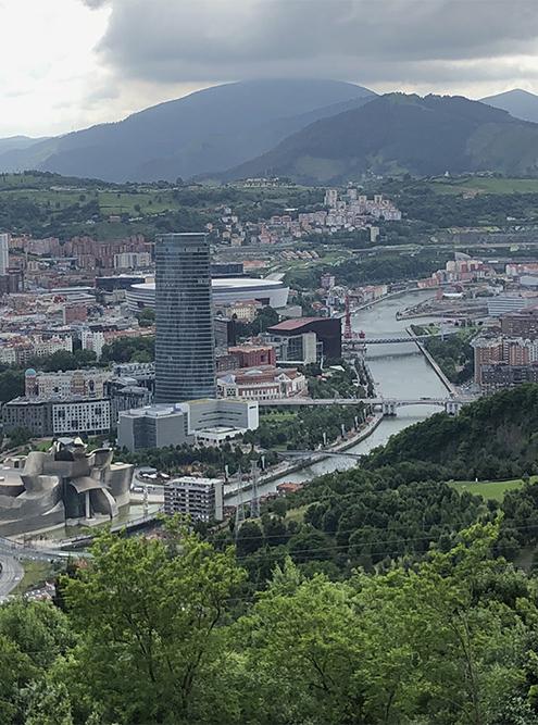 Вид на Бильбао и музей Гуггенхейма с обзорной площадки