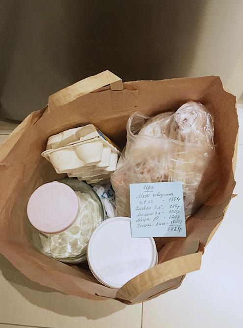Я раскладываю еду по пакетам, в каждый помещаю записку со стоимостью