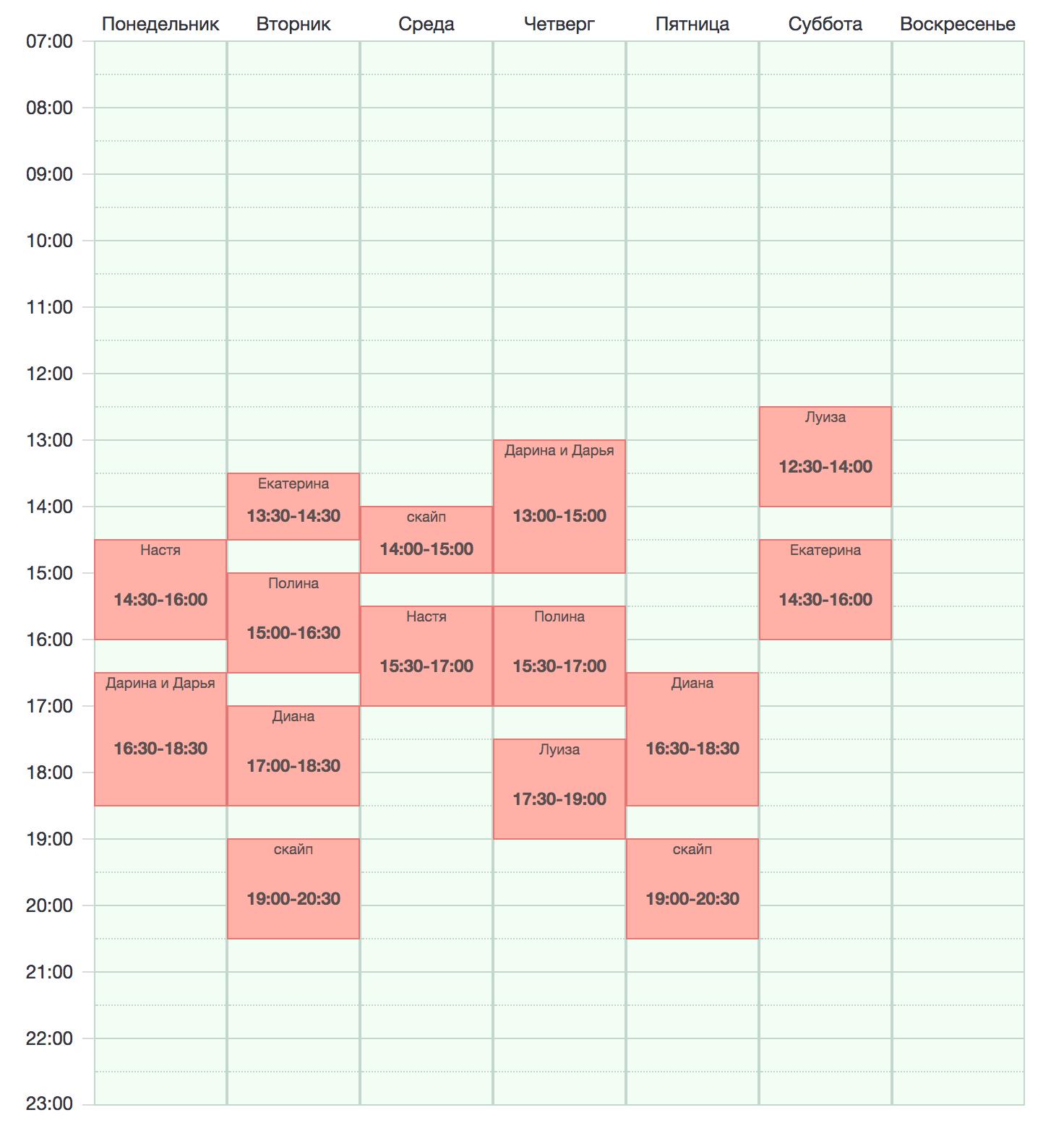 Мое расписание в этом учебном году: максимум 4 занятия в день