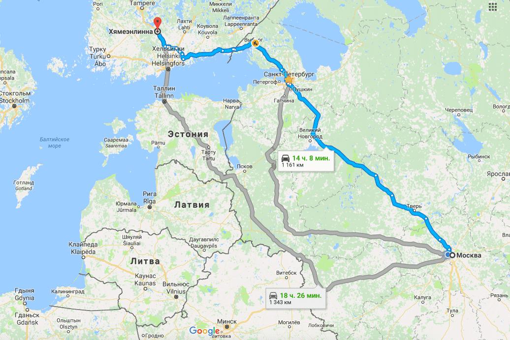 Мы выбрали синий маршрут без переправы на пароме, он ведет через таможенный пункт в Торфяновке
