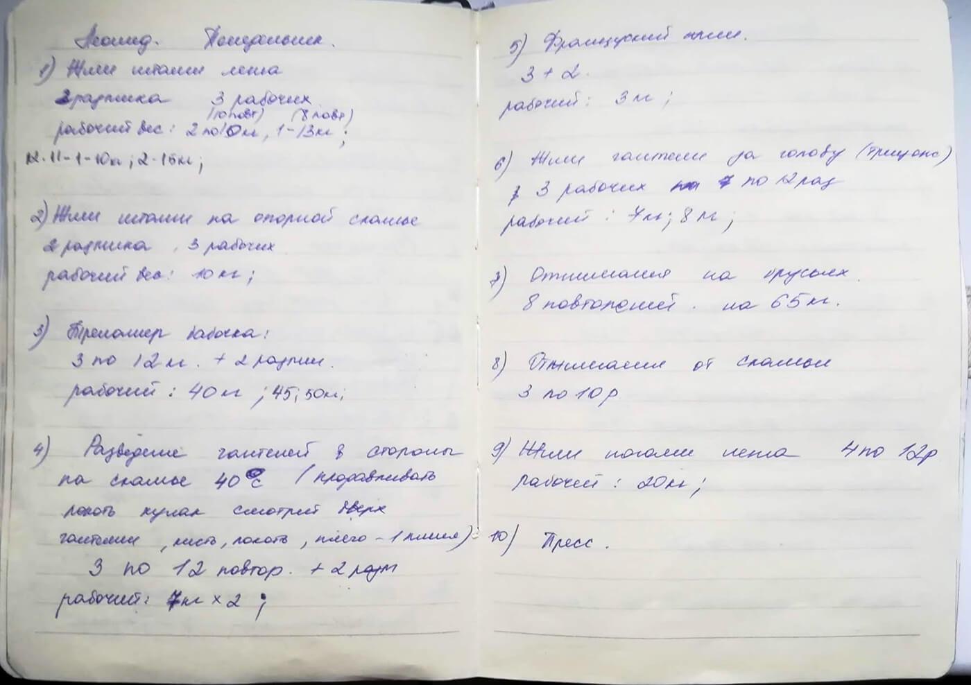 Так выглядит план индивидуальных тренировок. Я сама его разрабатываю и записываю в блокнот. Ученикам план тренировок на руки не выдаю, поскольку регулярно его корректирую