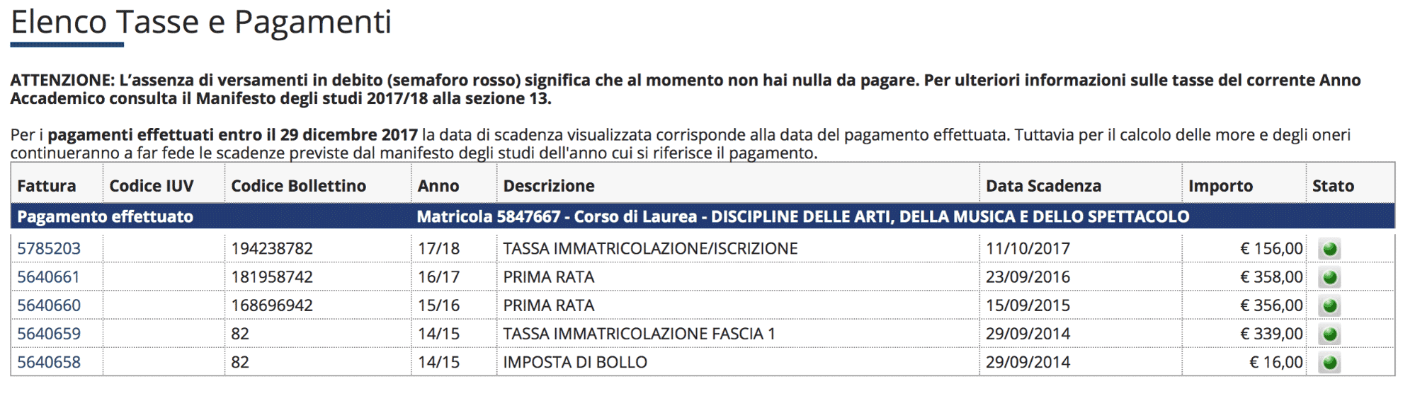 Моя страница на сайте университета с информацией об уплаченных налогах. Три предыдущих года я платила примерно по 350€, а в этом году сумма уменьшилась до 156€