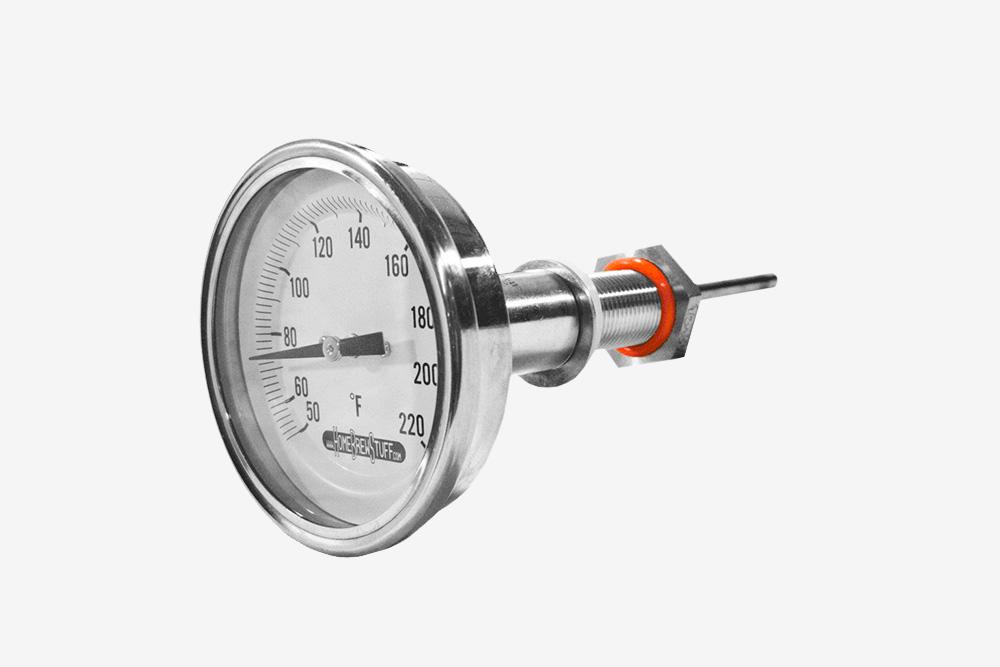 Биметаллический аналоговый термометр, устанавливаемый взаторный бак. Стоит около тысячи рублей