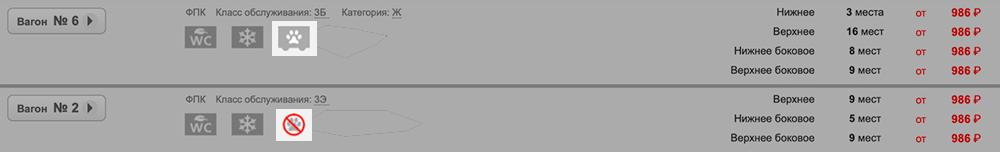 Вагоны, в которых можно возить мелких питомцев, обозначают иконкой с лапкой, в которых запрещено — иконкой с перечеркнутой лапкой. Там же есть подсказки о правилах оформления билета для животного