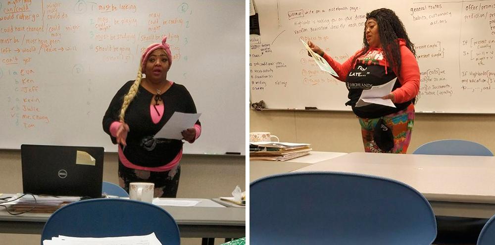 Мисс Дэйзи — наш педагог-организатор. Каждый день она меняла стиль: надевала парики, яркую одежду, аксессуары