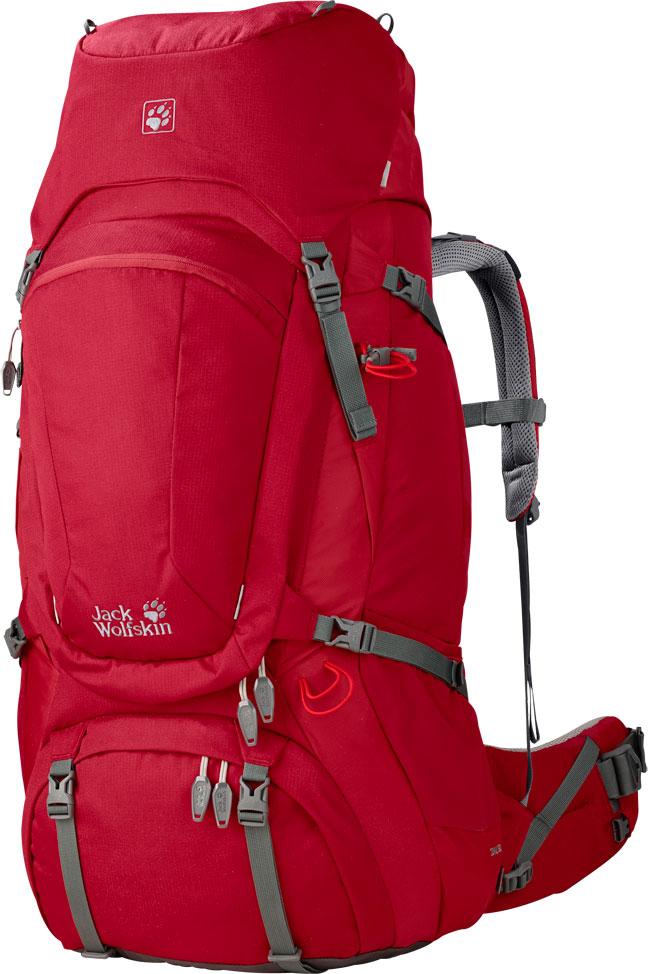 Походный рюкзак — минимум на 80 литров. В него складывают все, что нужно в походе: провизию и снаряжение, штурмовой рюкзак. Ледоруб обычно не влезает, поэтому его крепят снаружи с помощью оранжевых резинок. В этом рюкзаке можно унести все, что нужно для горного похода и восхождения. Такой рюкзак стоит минимум 9000 р.. Источник: Novatour.ru