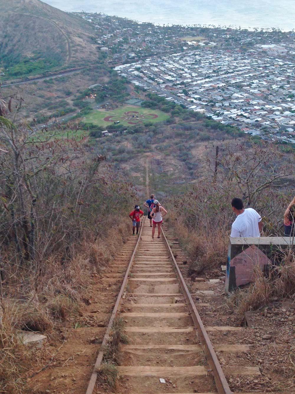 Вот этот длинный путь пешком поузкоколейке ведет квершине Коко-Хэд