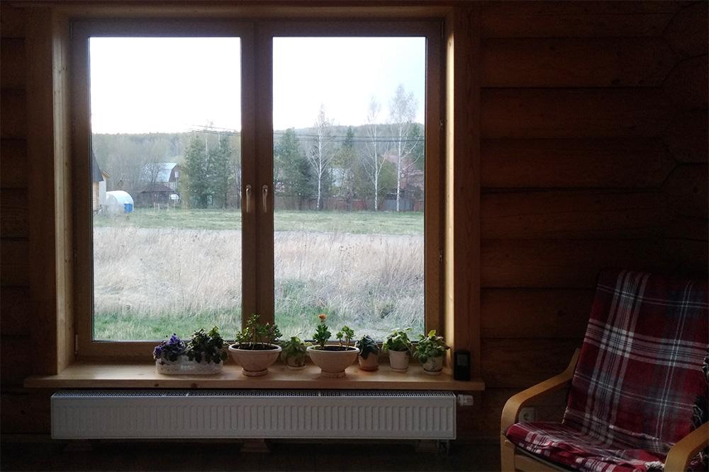 Некоторые окна внашем доме почти два метра ввысоту. Это одно изних вгостиной
