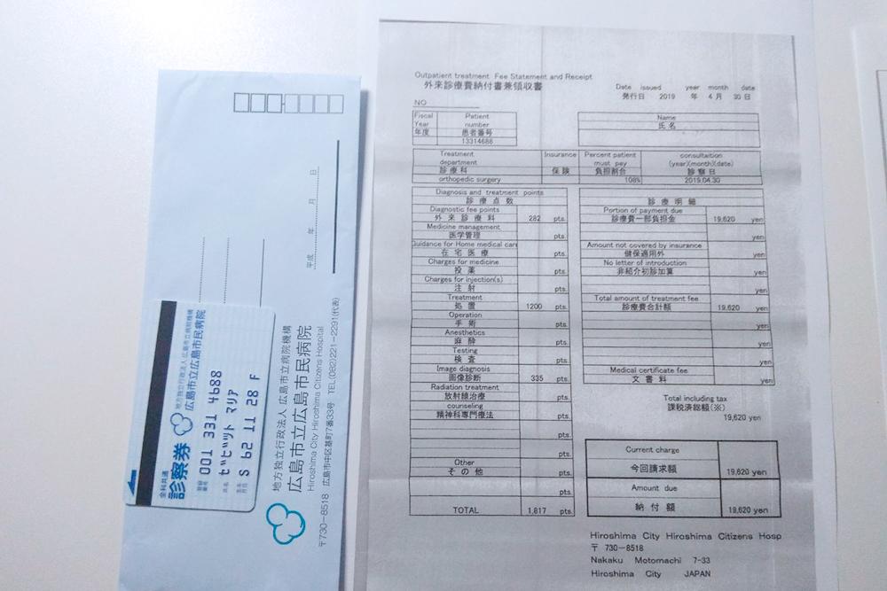 Мои документы из больницы. Справа — чек с переводом на английский язык