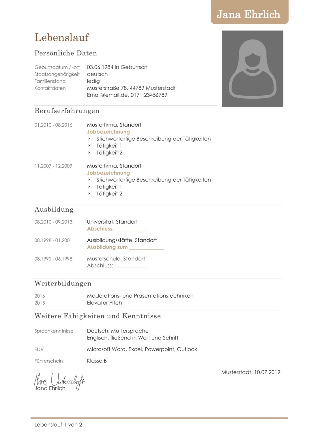Curriculum vitae, или CV, буквально означает «жизненный путь», в Германии его еще называют Lebenslauf. Я использовала вот такой образец — нашла его в одном из своих учебников по немецкому. Позже немецкие коллеги сказали, что я выбрала очень хороший вариант этого документа. По их словам, Lebenslauf должна быть обязательно в табличной форме, разделена на рубрики и содержать только самую основную информацию без использования глаголов