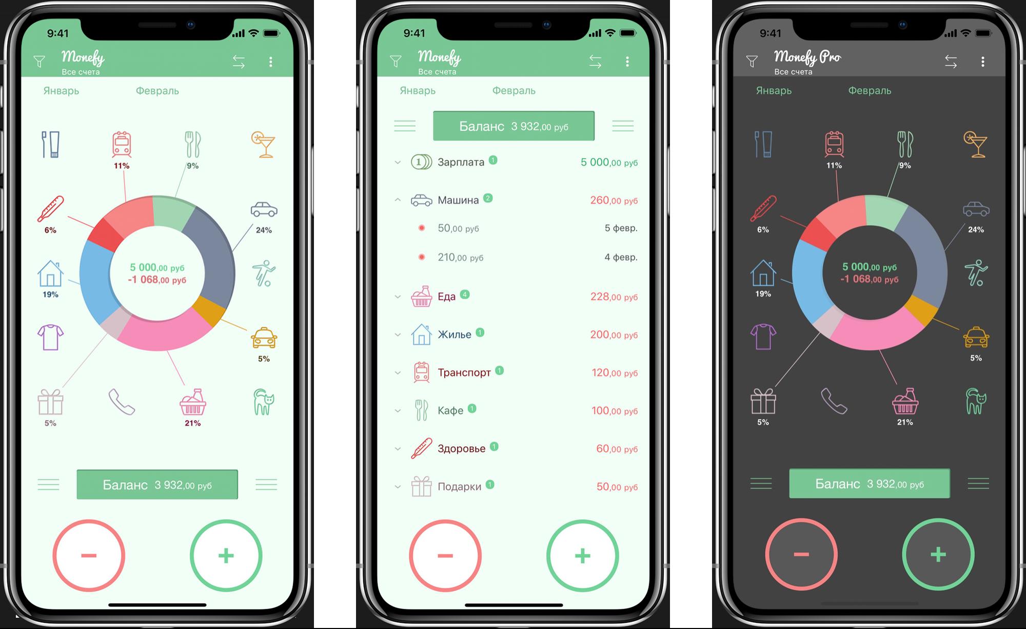 Приложение встречает наглядной диаграммой с категориями расходов и двумя кнопками: «+» и «–». Можно смотреть статистику за день, неделю, месяц и год