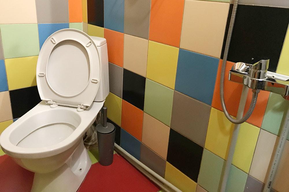 Так выглядит туалет, совмещенный с душем, в двухместном номере безокна