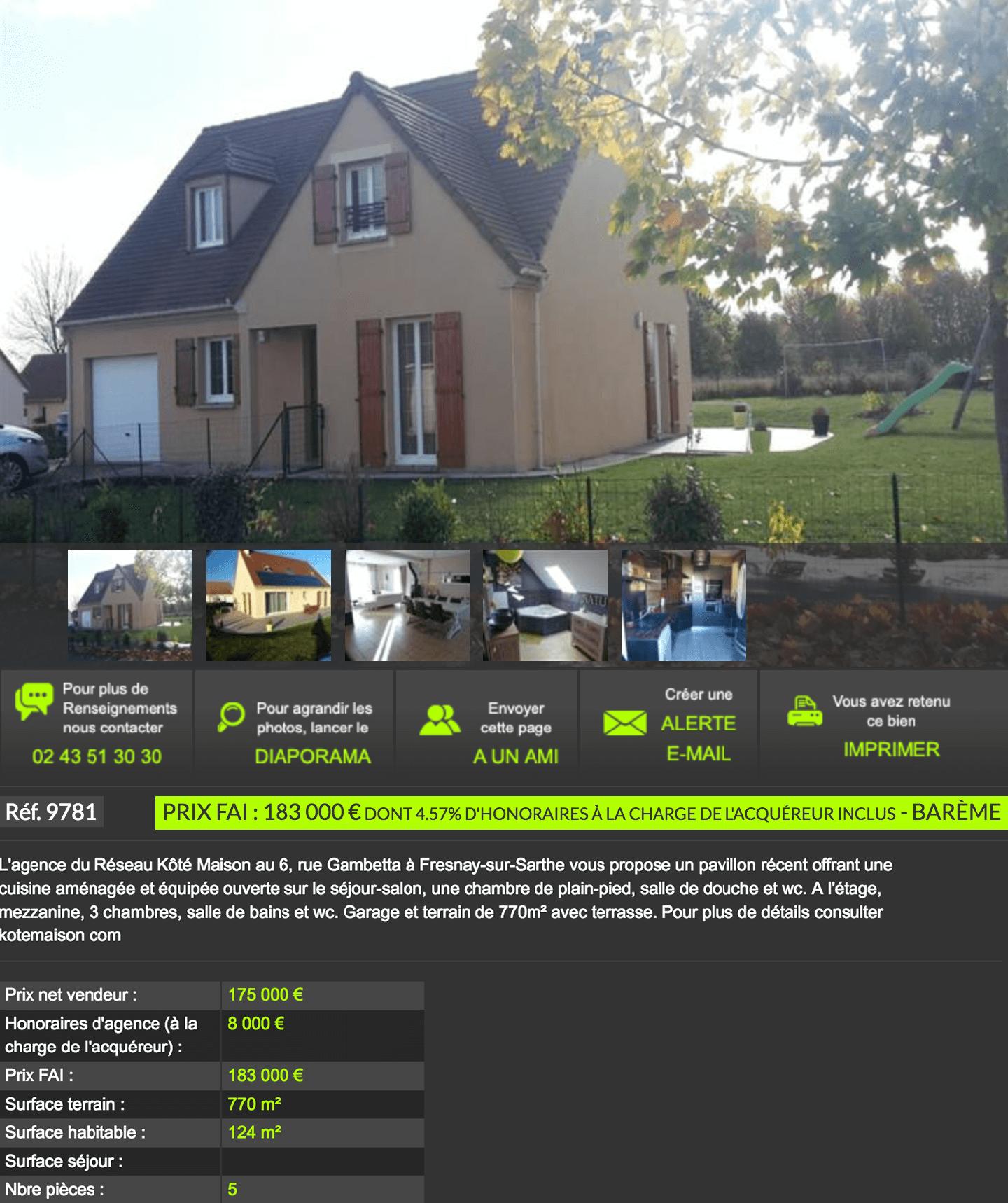 Дом площадью 124 м² с 4 спальнями и современным ремонтом продается за 183 000€. Сюда включено вознаграждение агентства