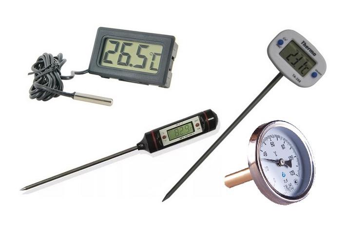 Термометры могут выглядеть по-разному, главное, чтобы датчик находился внутри самогонного аппарата. Такие термометры не содержат ртути и вредных веществ, так&nbsp;что даже если они разрушатся в аппарате, то риска отравления нет. Свой я приобрел за 250<span class=ruble>Р</span>. Подобные термометры еще&nbsp;стоят в обычных духовках. Источник: Яндекс-маркет