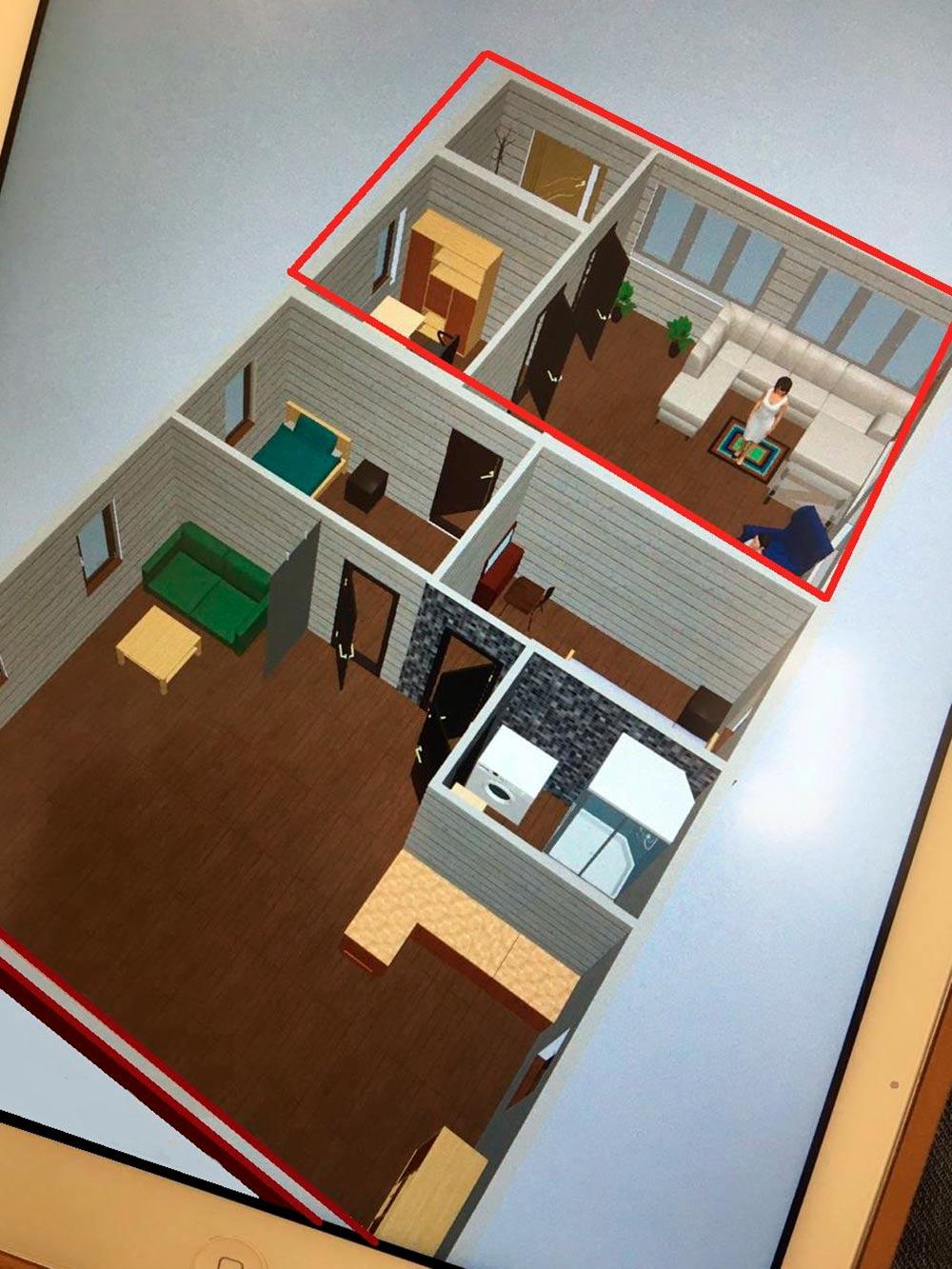 Красным выделена часть, которую мы планируем достроить. Там будет зимний вход, гардеробная и гостиная с панорамными окнами. Кухня-гостиная станет столовой с большим столом и стульями. Наша спальня-гардеробная будет проходной комнатой с уютным местом для{amp}amp;nbsp;сна