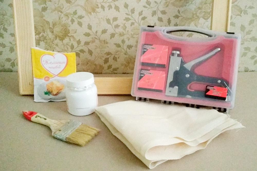 Мои материалы дляизготовления холста: подрамник, желатин, грунт, флейцевая кисть, двунитка и мебельный степлер