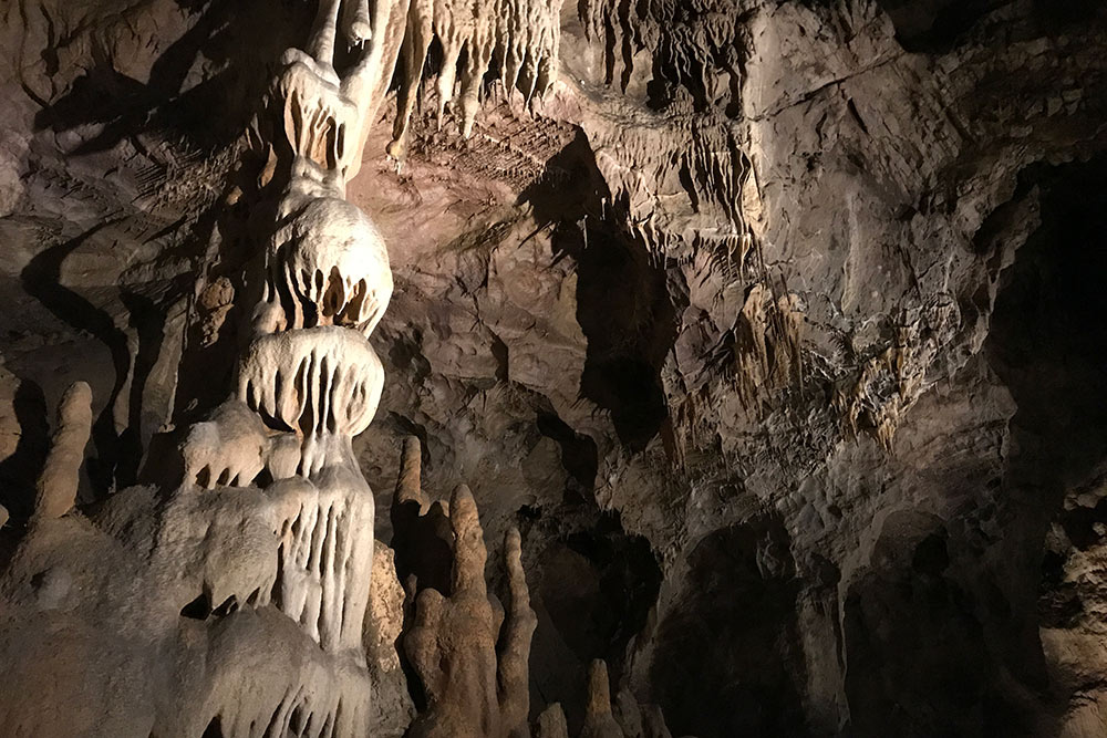 Сталактиты, сталагмиты идругие пещерные отложения хорошо подсвечены — можно безтруда все рассмотреть