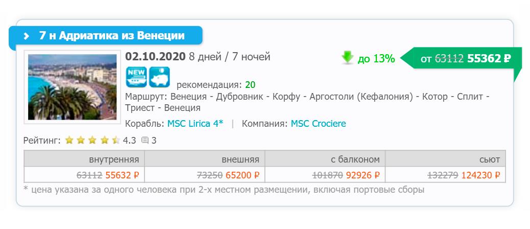 Этот круиз в октябре 2020&nbsp;года российский «Круклаб» продает от 55 362<span class=ruble>Р</span>
